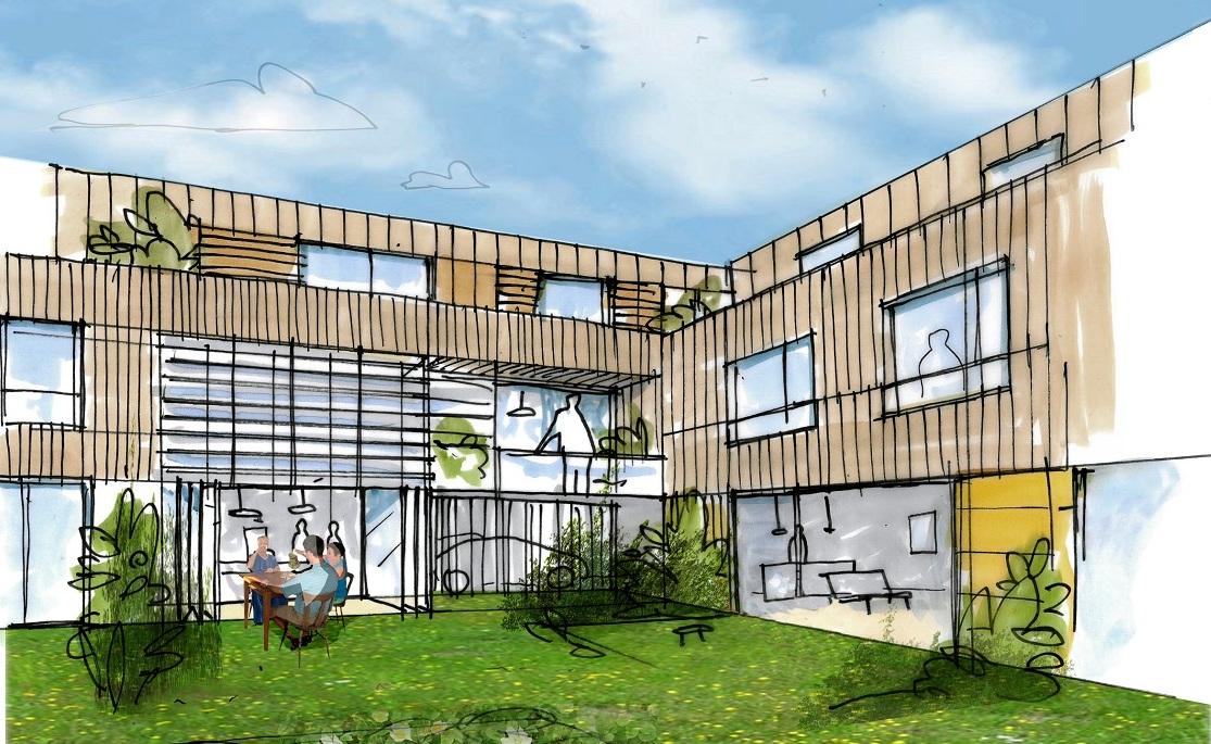 vue d'artiste du projet d'habitat participatif aux champs manceaux